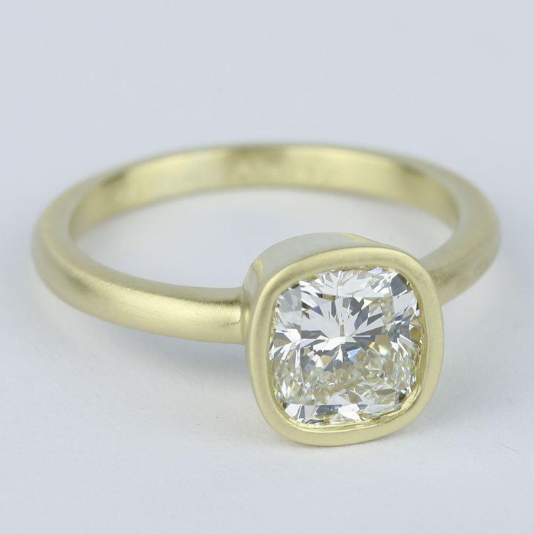 Bezel-Set Cushion Diamond Ring with Satin Finish angle 3