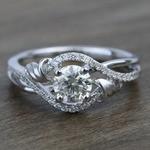 Brushed Flourish Split Shank Round Diamond Engagement Ring (0.70 Carat) - small