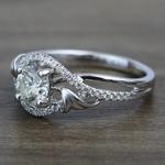 Brushed Flourish Split Shank Round Diamond Engagement Ring (0.70 Carat) - small angle 2