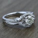 Brushed Flourish Split Shank Round Diamond Engagement Ring (0.70 Carat) - small angle 3