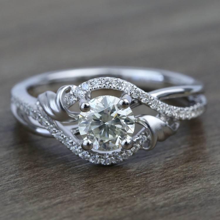 Brushed Flourish Split Shank Round Diamond Engagement Ring (0.70 Carat)