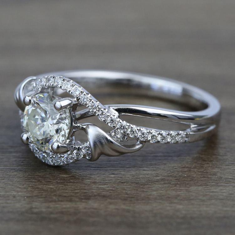 Brushed Flourish Split Shank Round Diamond Engagement Ring (0.70 Carat) angle 2