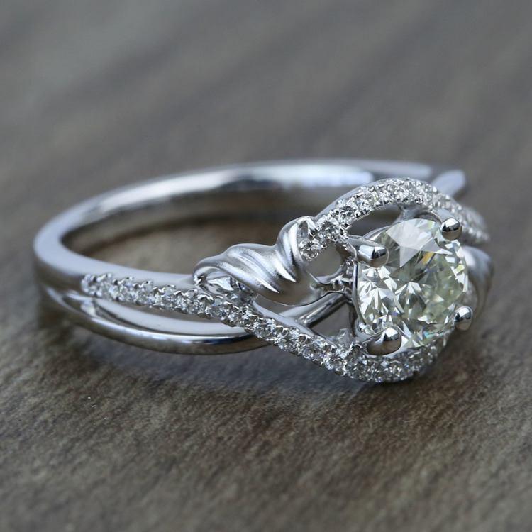 Brushed Flourish Split Shank Round Diamond Engagement Ring (0.70 Carat) angle 3