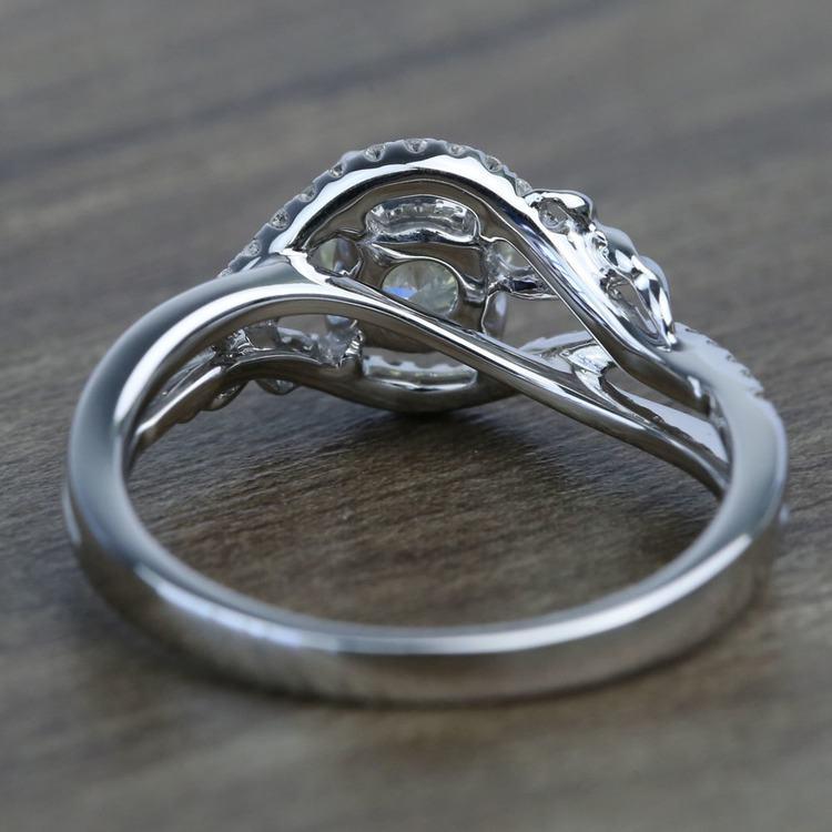 Brushed Flourish Split Shank Round Diamond Engagement Ring (0.70 Carat) angle 4