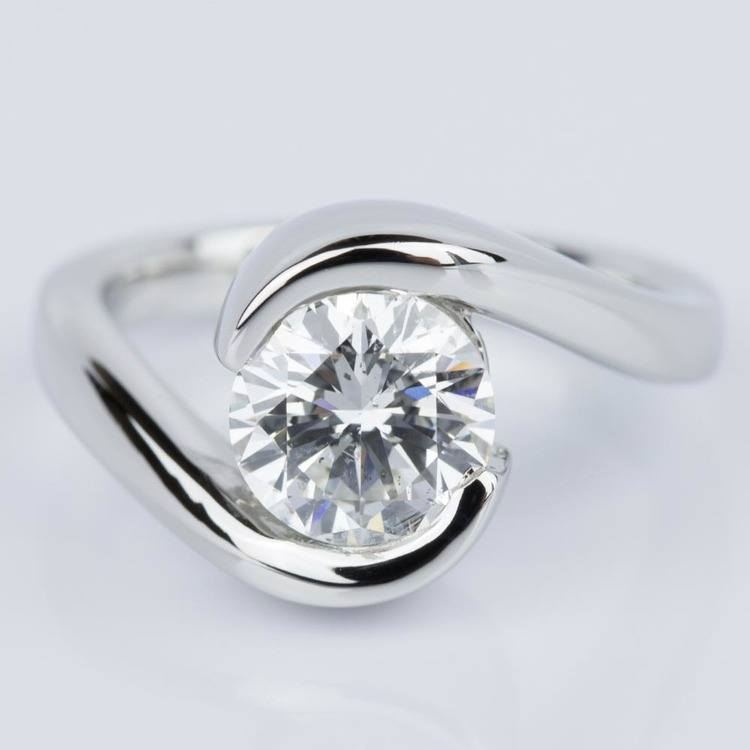 Bypass Style Half Bezel Diamond Engagement Ring in Platinum (1.50 ct.)
