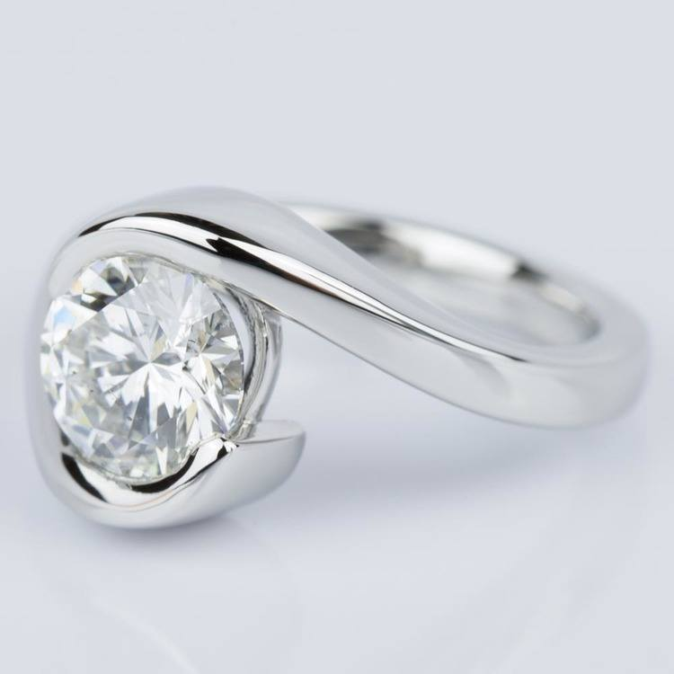 Bypass Style Half Bezel Diamond Engagement Ring in Platinum (1.50 ct.) angle 2