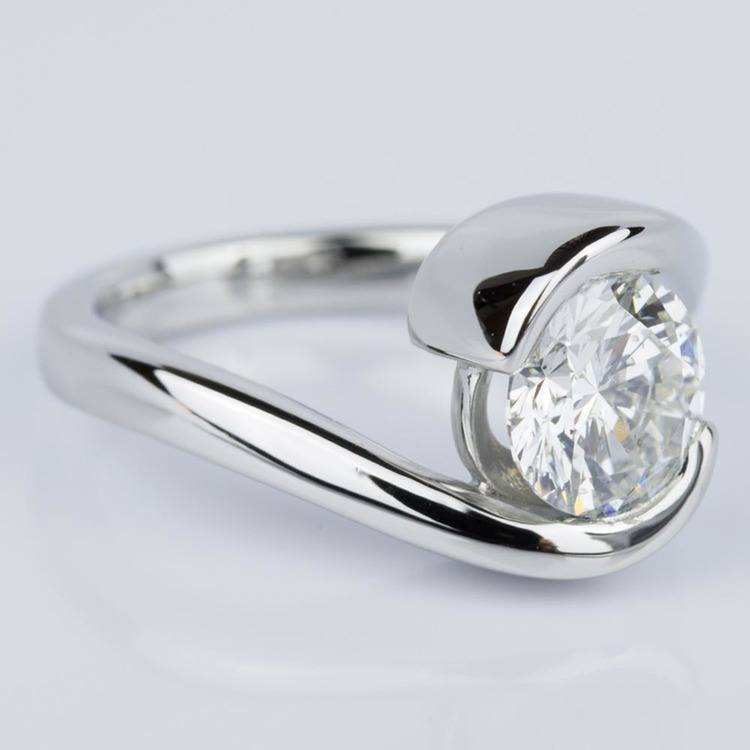 Bypass Style Half Bezel Diamond Engagement Ring in Platinum (1.50 ct.) angle 3