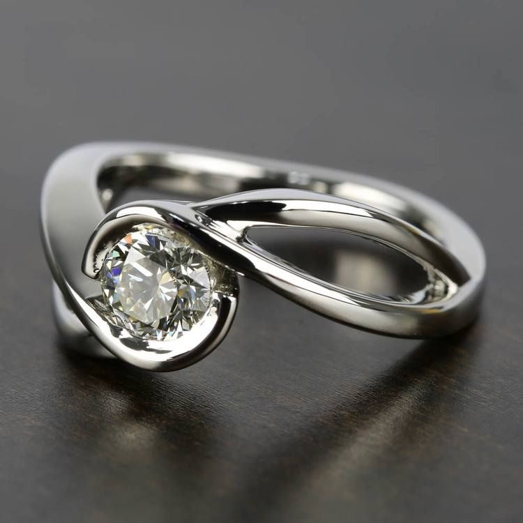 Bypass Engagement Ring with 0.75 Carat Round Diamond angle 2