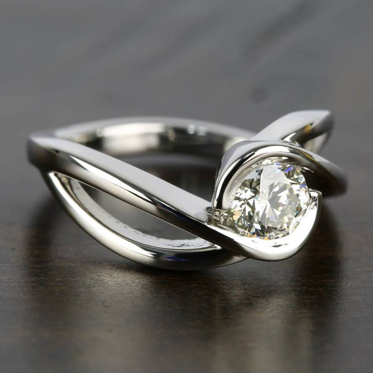 Bypass Engagement Ring with 0.75 Carat Round Diamond angle 3