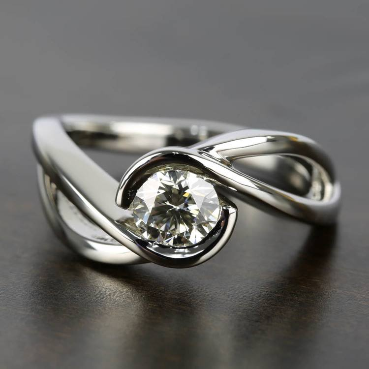 Bypass Engagement Ring with 0.75 Carat Round Diamond