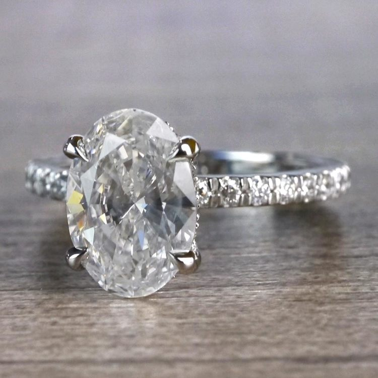 Captivating Custom Oval Diamond Engagement Ring angle 2