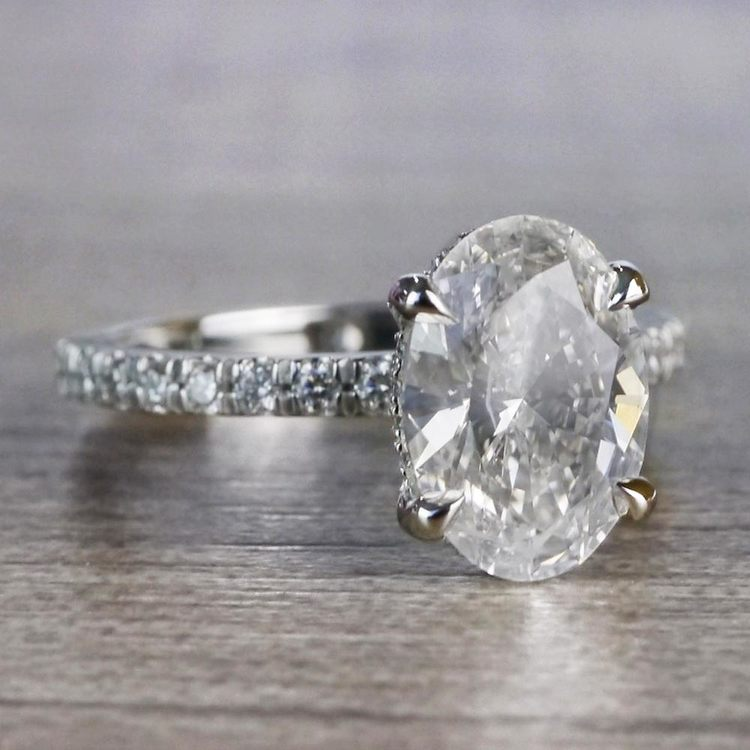 Captivating Custom Oval Diamond Engagement Ring angle 3