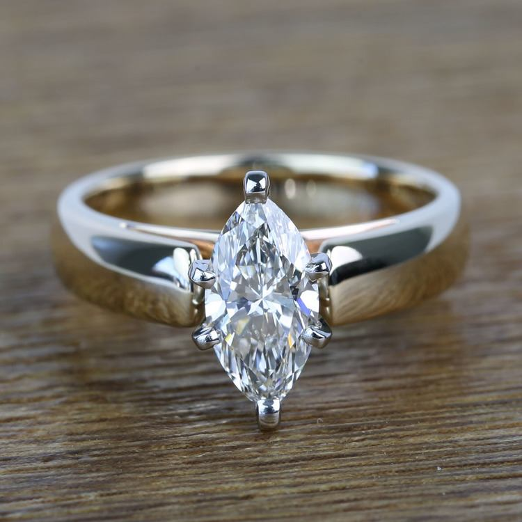 Cathedral 1 Carat Marquise Solitaire Diamond Engagement Ring