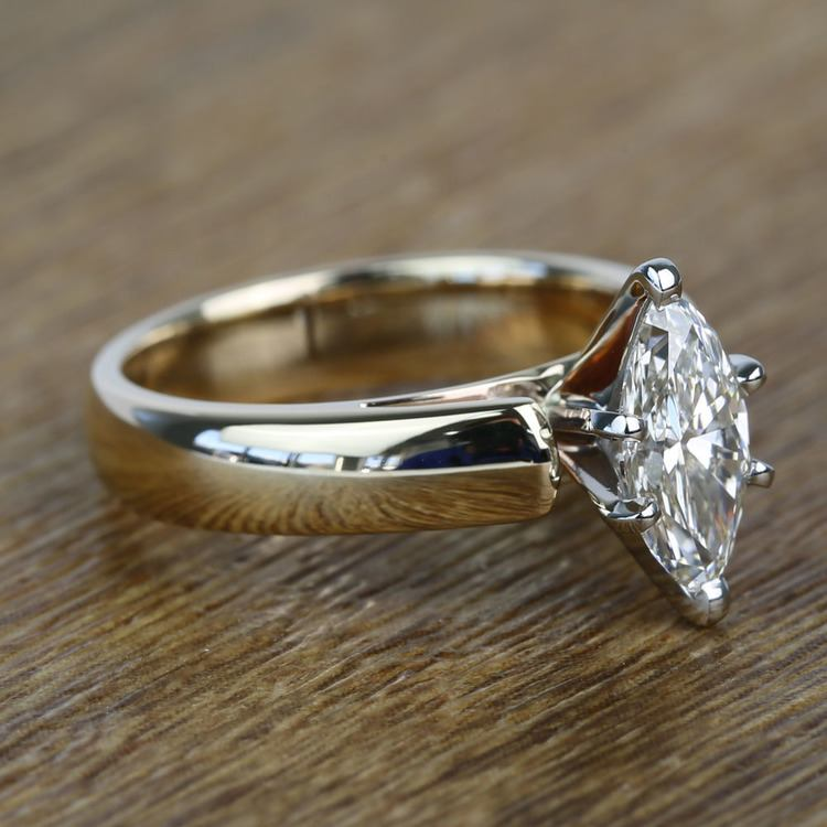 Cathedral 1 Carat Marquise Solitaire Diamond Engagement Ring angle 3