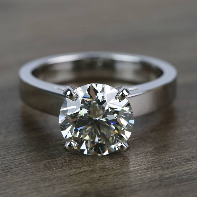 Cathedral 2.66 Carat Round Solitaire Diamond Engagement Ring