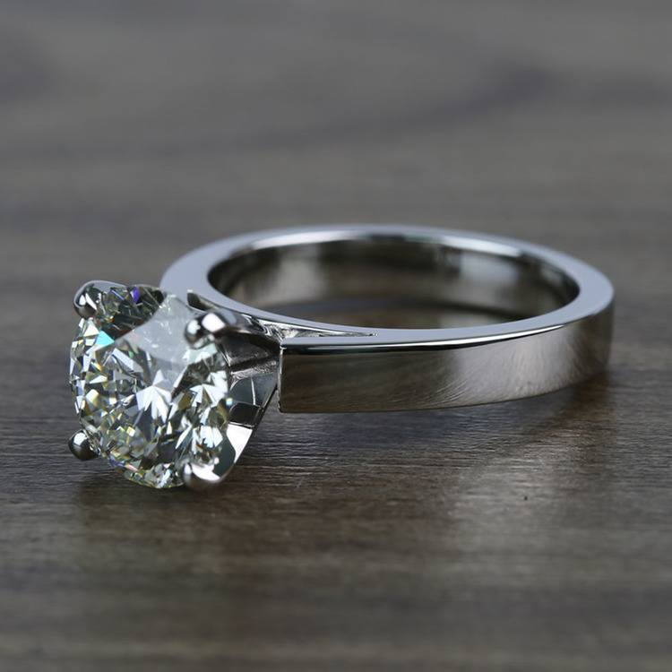 Cathedral 2.66 Carat Round Solitaire Diamond Engagement Ring angle 2
