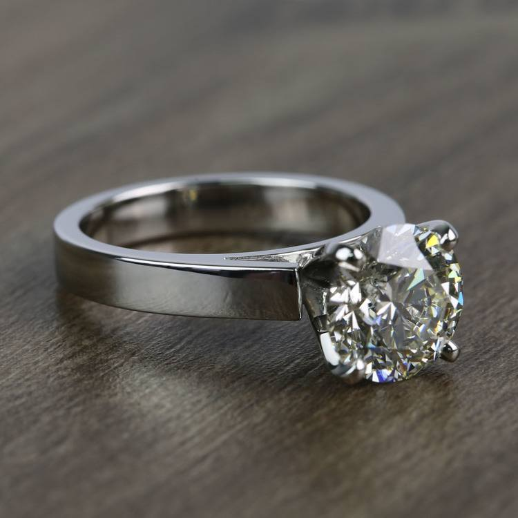Cathedral 2.66 Carat Round Solitaire Diamond Engagement Ring angle 3