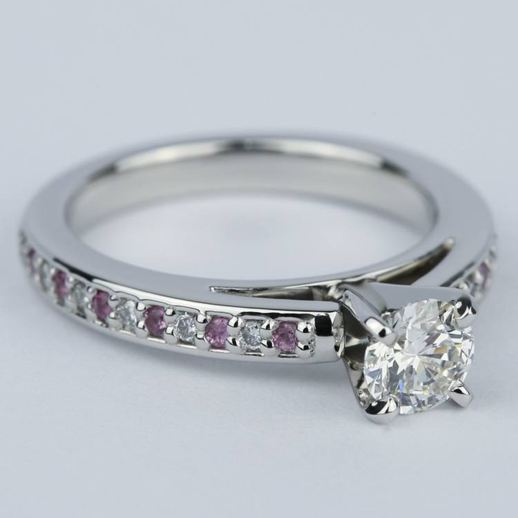 Cathedral Diamond & Pink Sapphire Gem Engagement Ring (0.50 ct.) angle 3