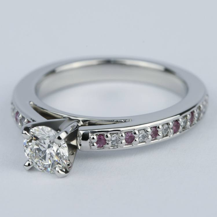 Cathedral Diamond & Pink Sapphire Gem Engagement Ring (0.50 ct.) angle 2