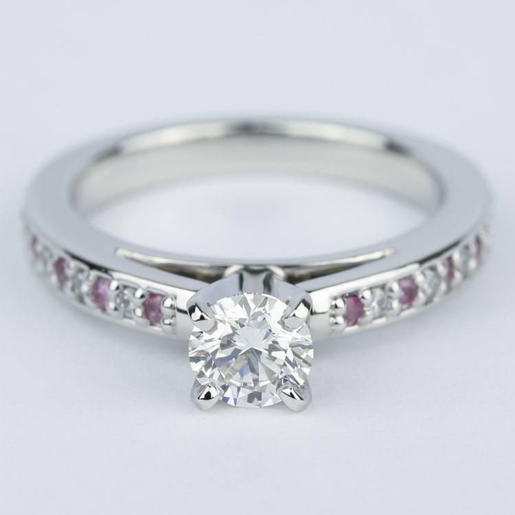 Cathedral Diamond & Pink Sapphire Gem Engagement Ring (0.50 ct.)