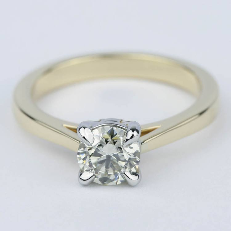 Cathedral Diamond Solitaire Engagement Ring with Claw Prongs