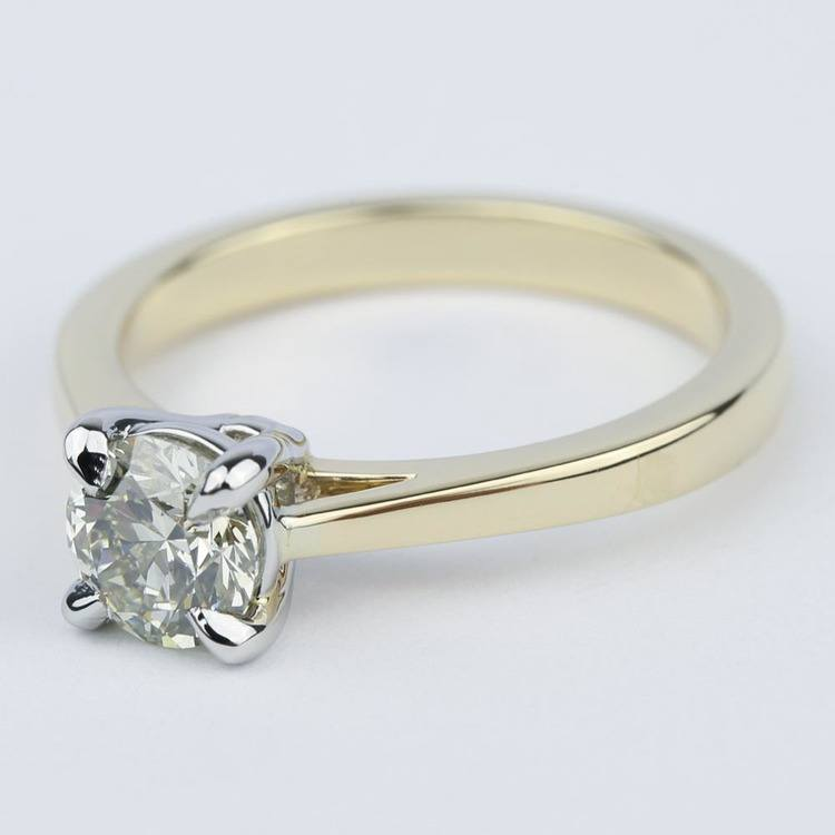 Cathedral Diamond Solitaire Engagement Ring with Claw Prongs angle 2