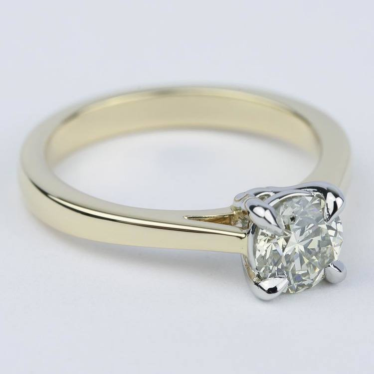 Cathedral Diamond Solitaire Engagement Ring with Claw Prongs angle 3