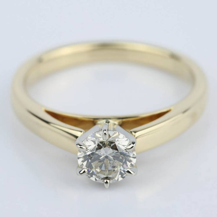 Cathedral Round Diamond Six-Prong Engagement Ring (0.70 ct.)