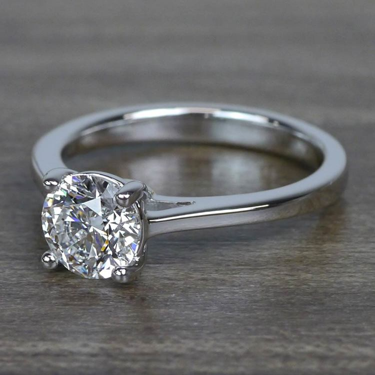 Sparkling Solitaire 1.01 Carat Round Loose Diamond Engagement Ring angle 2