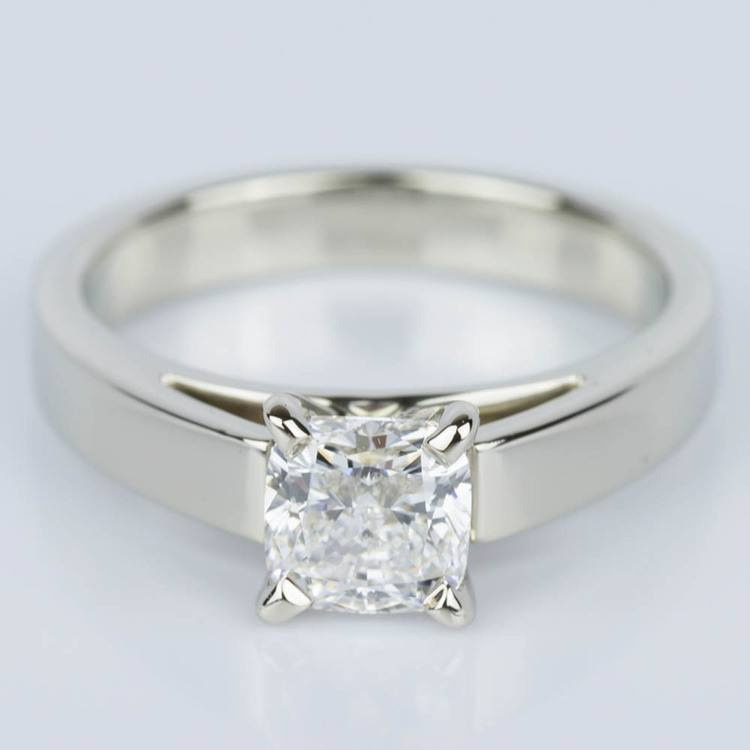 Cathedral Solitaire Cushion Diamond Engagement Ring (1.04 ct.)