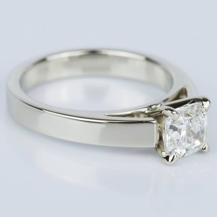 Cathedral Solitaire Cushion Diamond Engagement Ring (1.04 ct.) angle 3