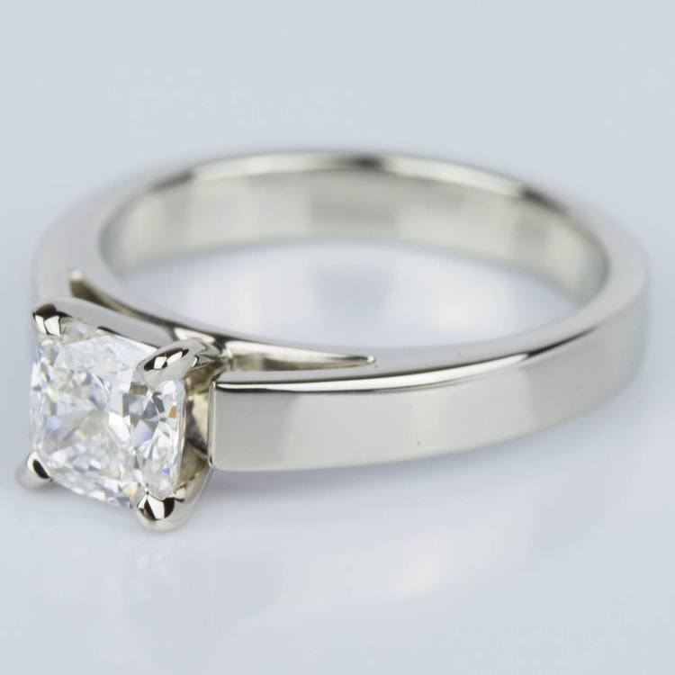 Cathedral Solitaire Cushion Diamond Engagement Ring (1.04 ct.) angle 2