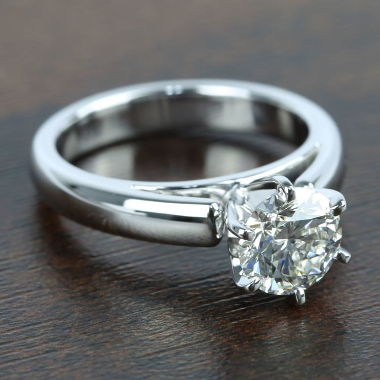 1 Carat Diamond Cathedral Solitaire Engagement Ring angle 3
