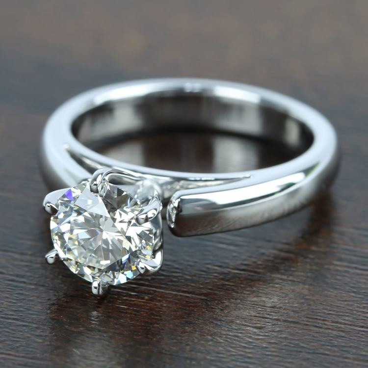 1 Carat Diamond Cathedral Solitaire Engagement Ring angle 2