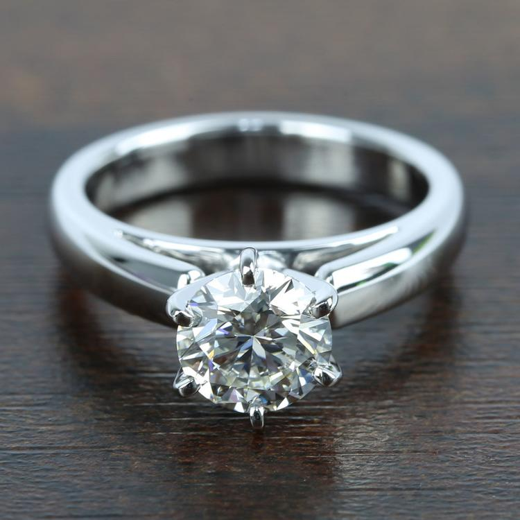 1 Carat Diamond Cathedral Solitaire Engagement Ring