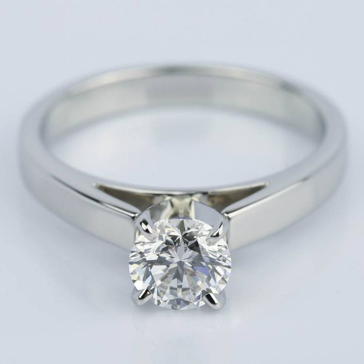 Cathedral Solitaire Diamond Engagement Ring in Platinum (0.90 ct.)