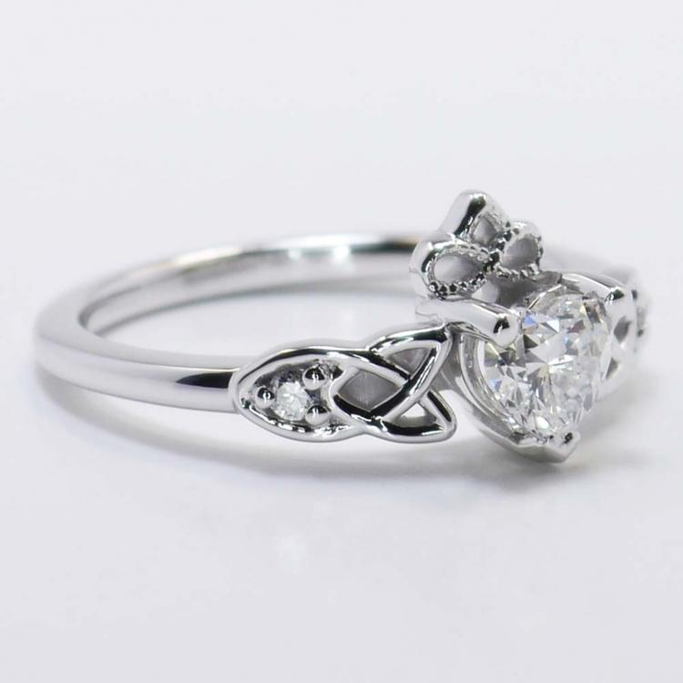 Celtic Claddagh Heart Diamond Ring (0.50 Carat) angle 2