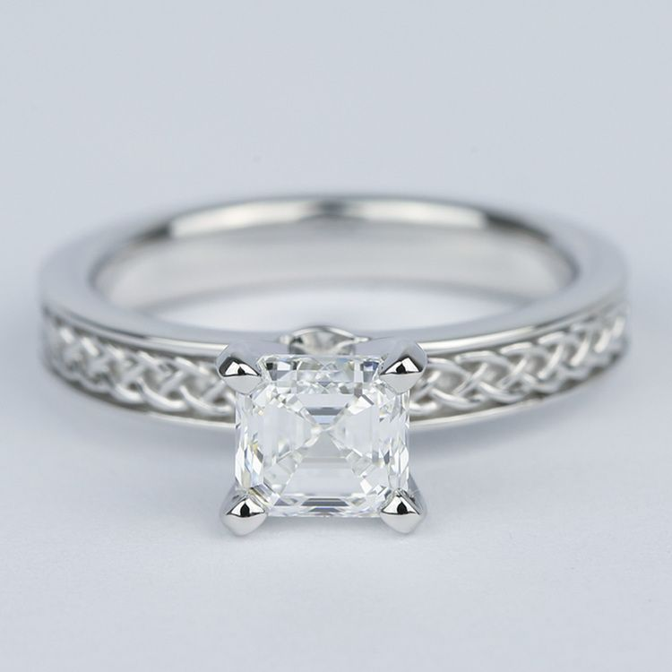 Colorless Asscher Diamond Engagement Ring with Celtic Knot Design