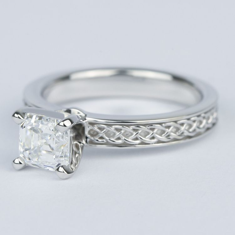 Colorless Asscher Diamond Engagement Ring with Celtic Knot Design angle 2