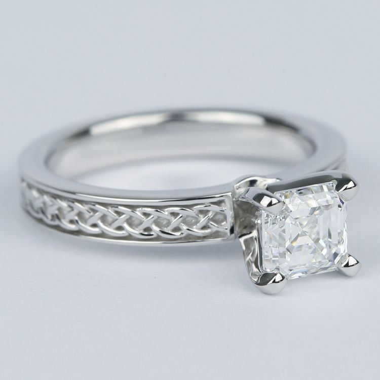 Colorless Asscher Diamond Engagement Ring with Celtic Knot Design angle 3