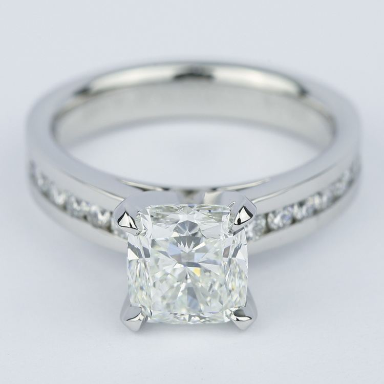 Channel Cathedral Cushion Diamond Engagement Ring (2 Carat)