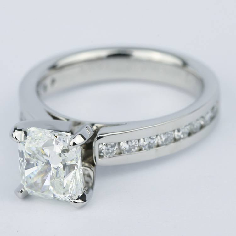 Channel Cathedral Cushion Diamond Engagement Ring (2 Carat) angle 2