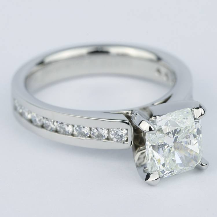 Channel Cathedral Cushion Diamond Engagement Ring (2 Carat) angle 3