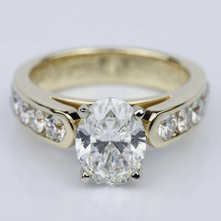 Channel Oval 2.13 Carat Diamond Engagement Ring
