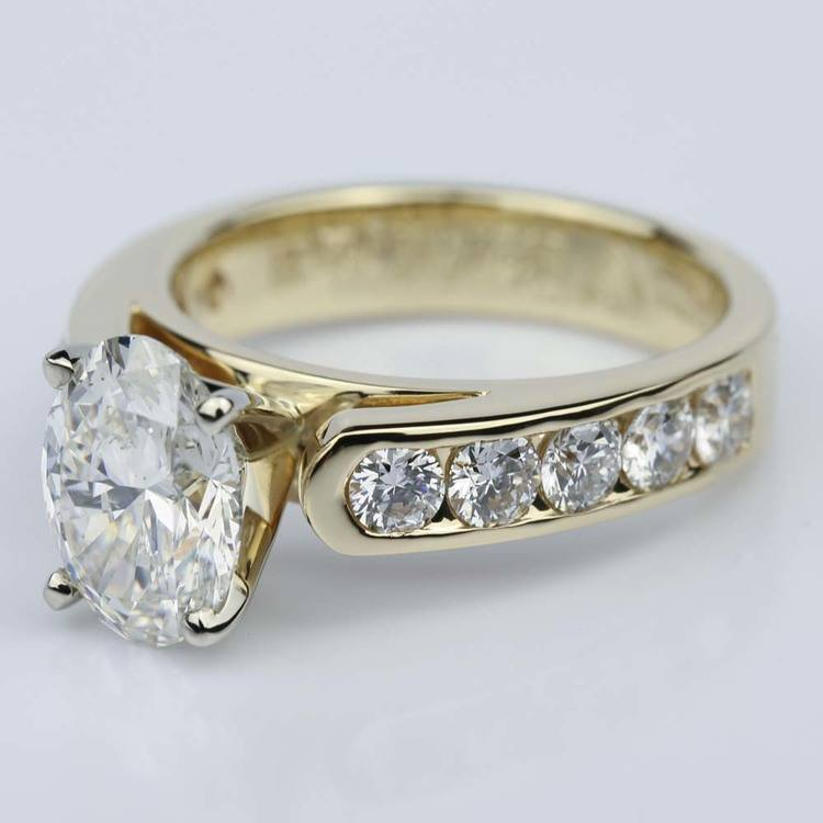 Channel Oval 2.13 Carat Diamond Engagement Ring angle 2