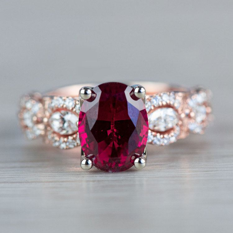 Chathem Ruby Engagement Ring In Rose Gold