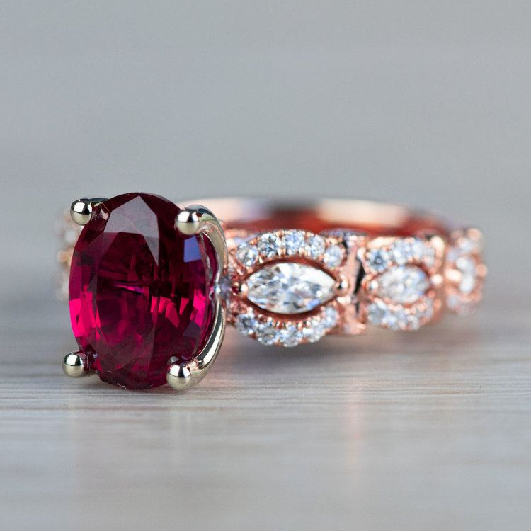 Chathem Ruby Engagement Ring In Rose Gold  angle 2