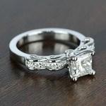 Cinderella Ribbon 1 Carat Princess Diamond Engagement Ring - small angle 3