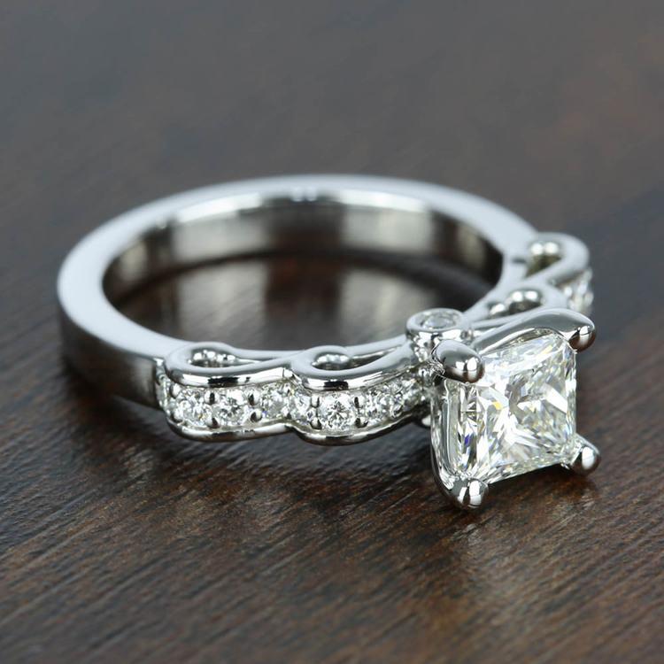 Cinderella Ribbon 1 Carat Princess Diamond Engagement Ring angle 3