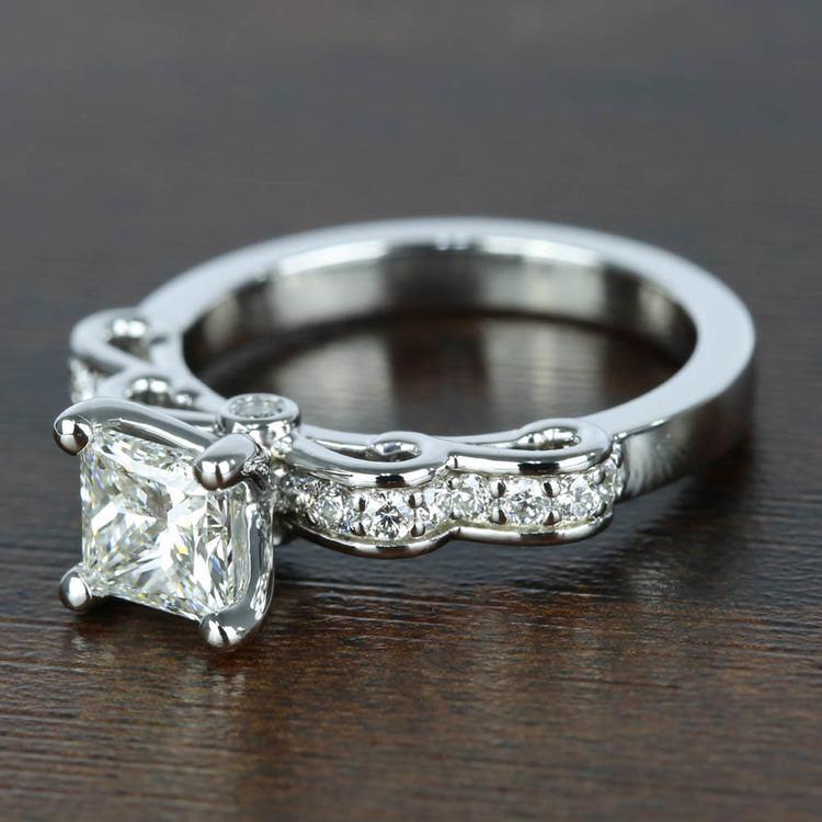 Cinderella Ribbon 1 Carat Princess Diamond Engagement Ring angle 2